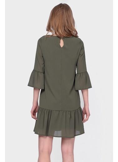 İroni Volanlı Mini Şifon Elbise Haki